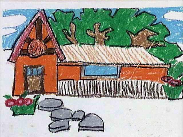 乡村房屋 儿童画蜡笔画图片