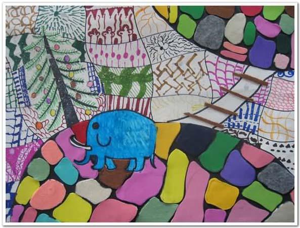大象林 儿童彩笔画图片