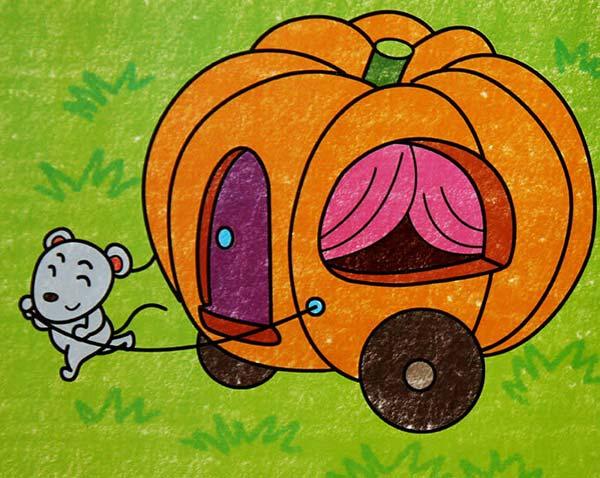 小老鼠拉南瓜车_儿童画蜡笔画图片_儿童画
