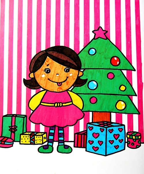 诞礼物 儿童画彩笔画图片