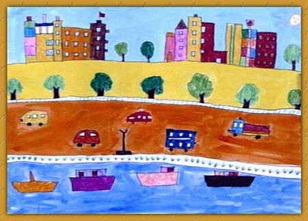 代城市 儿童画彩笔画图片