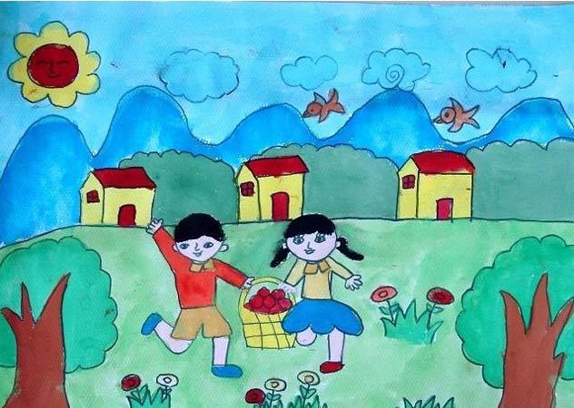 小孩摘水果 儿童画彩笔画图片
