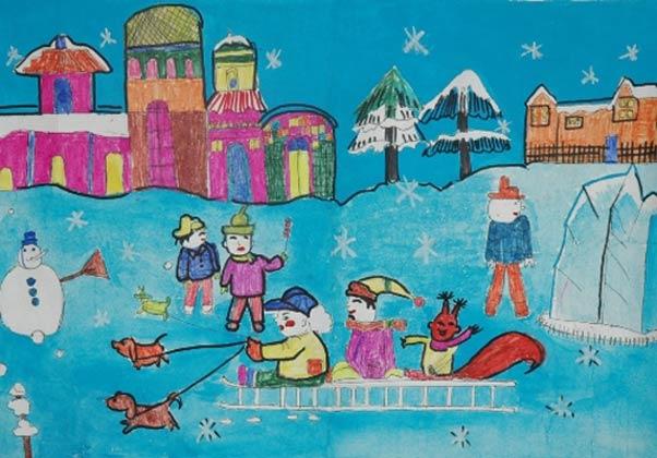 小狗拉雪橇 儿童彩笔画图片