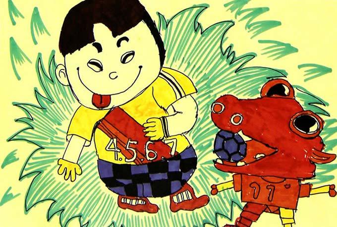 小孩 儿童画 小狗 彩笔/小孩和小狗_儿童画彩笔画图片