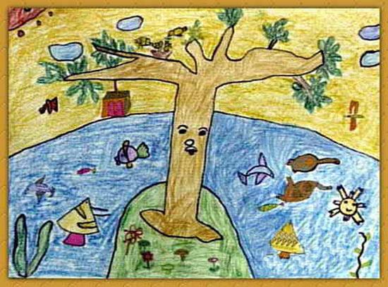 一座孤岛 儿童画蜡笔画图片