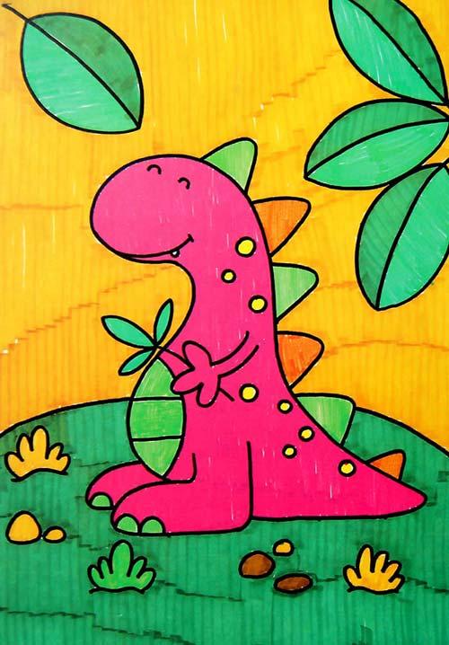 小恐龙 儿童画彩笔画图片