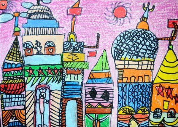 拥挤的建筑 儿童画蜡笔画图片