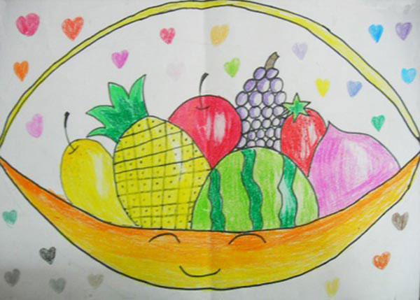 一篮水果 儿童画彩笔画图片