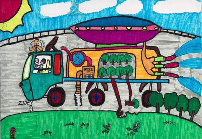 栽树车 儿童画彩笔画图片