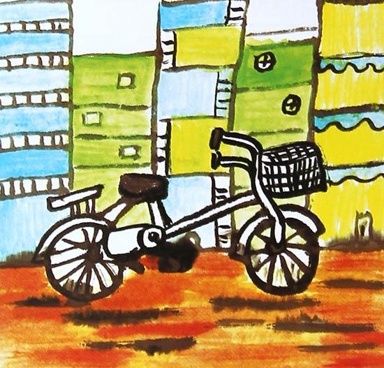 作品 自行车 少儿/一辆自行车1_儿童画水粉画作品