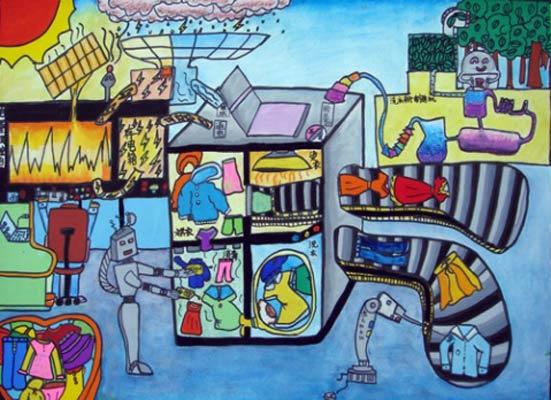 机械制造儿童画-自动卖衣设备 儿童彩笔画作品图片