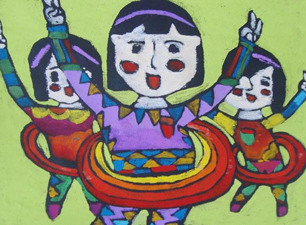 儿童 呼啦圈/转呼啦圈的女孩_儿童画水粉画