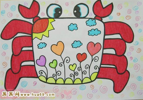 穿花衣的螃蟹_幼儿彩笔画作品_儿童画