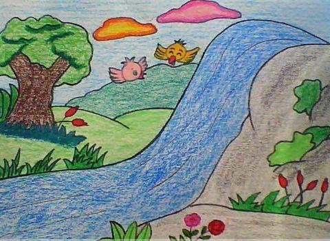 美丽的春天 儿童蜡笔画作品