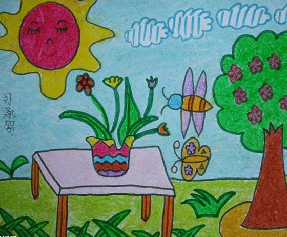 宁静的花园 儿童蜡笔画作品