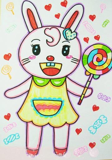 棒棒糖 儿童彩笔画作品