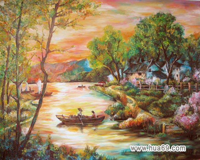 美丽村庄_儿童水粉画作品