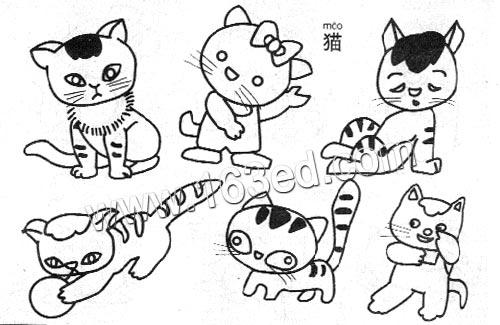 动物简笔画:猫2—简笔画网