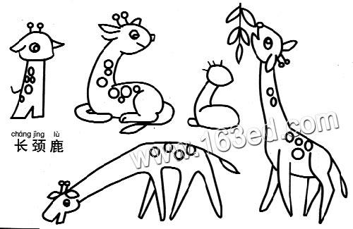 动物简笔画:长颈鹿1—简笔画网