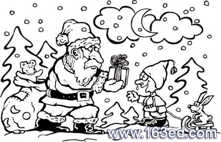 简笔画/圣诞老人简笔画:送礼