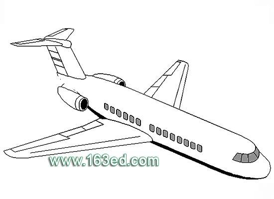 交通工具简笔画:飞机25—简笔画网