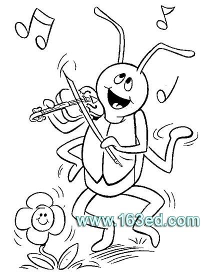 蚂蚁简笔画 拉小提琴