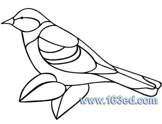 鸟类简笔画:麻雀2—简笔画网