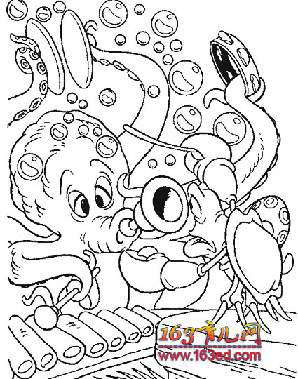 美人鱼和老章鱼简笔画—简笔画网