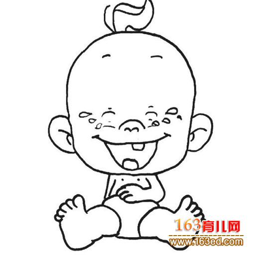 简笔画 小孩开心笑2