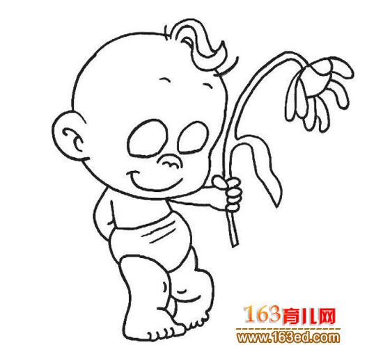 简笔画:小孩送花1—简笔画网