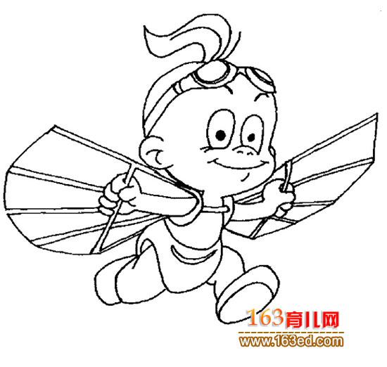 简笔画:小孩有翅膀