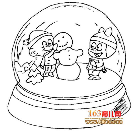 小孩搭雪人(人物简笔画)—简笔画网