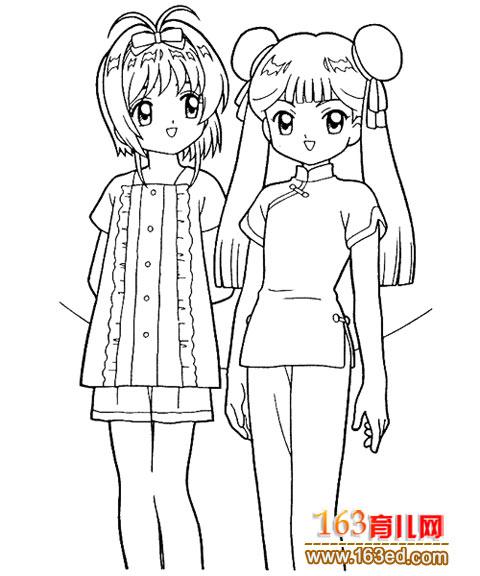两个女孩简笔画