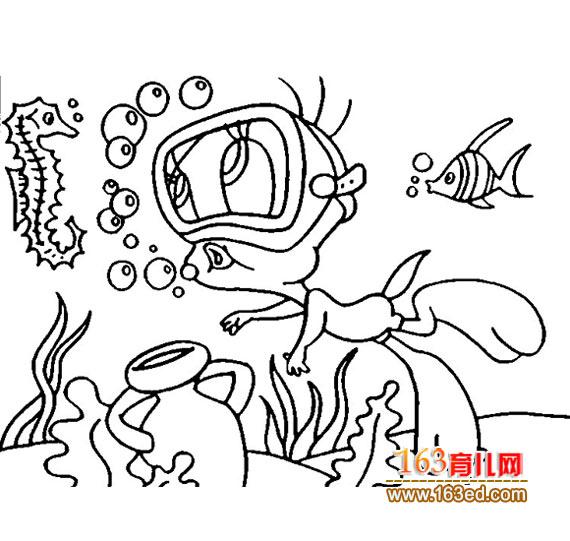 海底游泳的卡通小鸭子简笔画—简笔画网