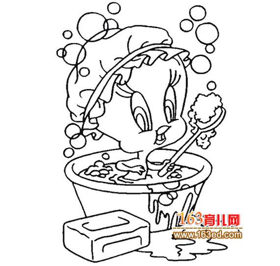鸭子宝宝洗澡的简笔画