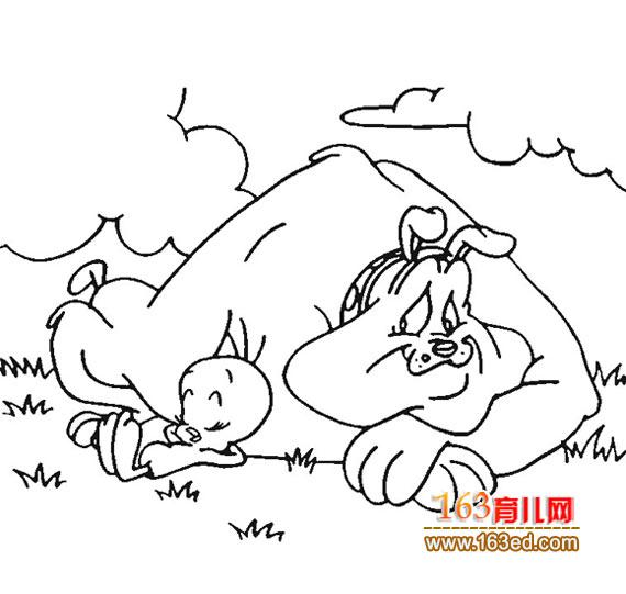 育儿网 简笔画 动物 >> 正文 [图文]一只大狗睡觉的的简笔画 &-画画 简