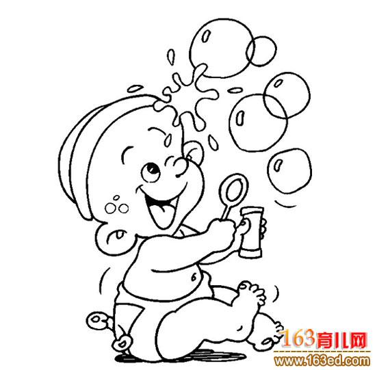婴儿吹泡泡的简笔画2