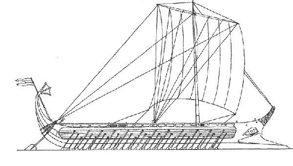 大帆船简笔画(交通工具)2