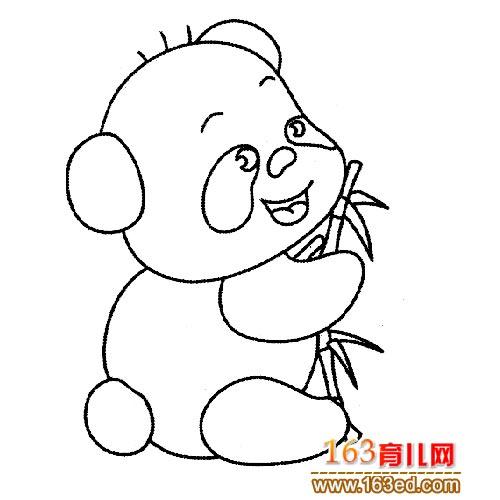熊猫吃竹子的简笔画_动物简笔画:吃竹子的大熊猫宝宝—简笔画网