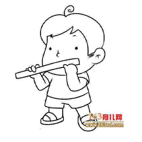 吹笛子的小男孩简笔画