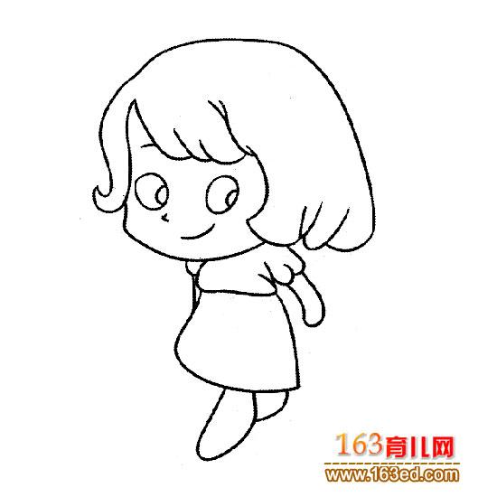 短发的小女孩简笔画—简笔画网