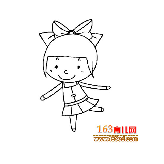 高兴的小女孩简笔画—简笔画网