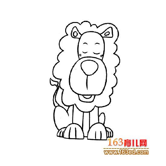 动物简笔画:休息的狮子