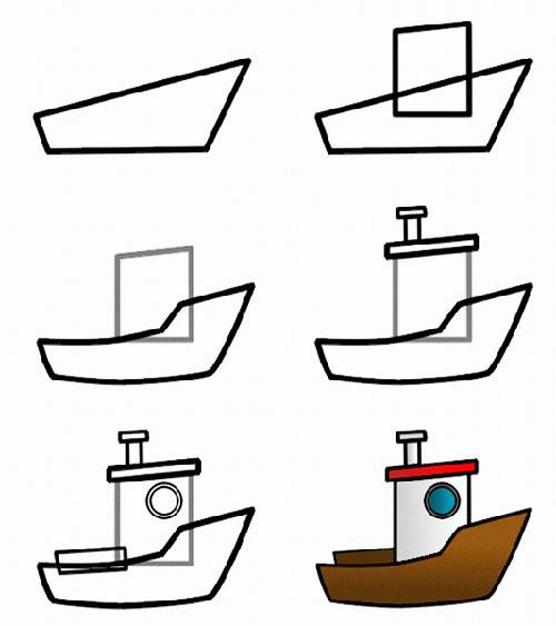小船简笔画的画法(交通工具)—简笔画网