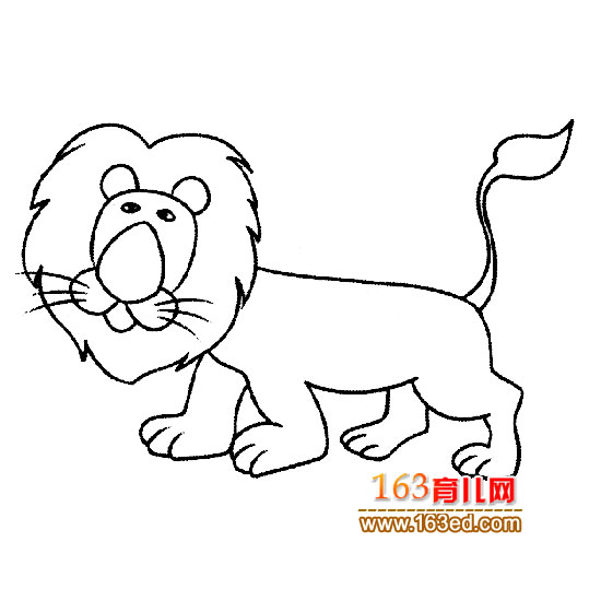 简笔画 卡通动物简笔画 威武的狮子王