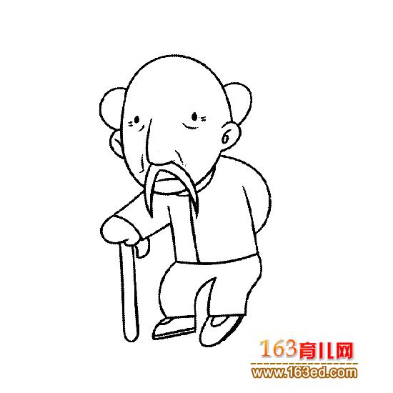 拄拐杖的老人简笔画1
