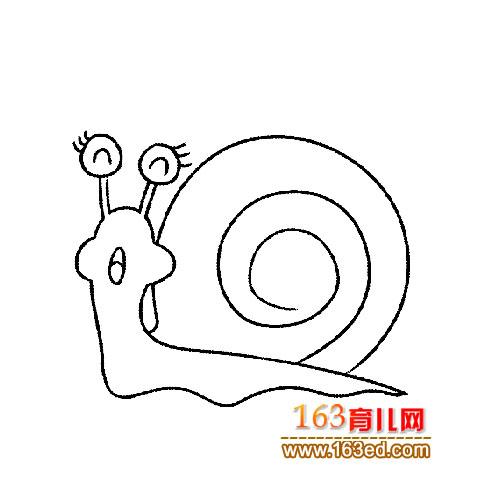 一只伤心的蜗牛简笔画│昆虫简笔画