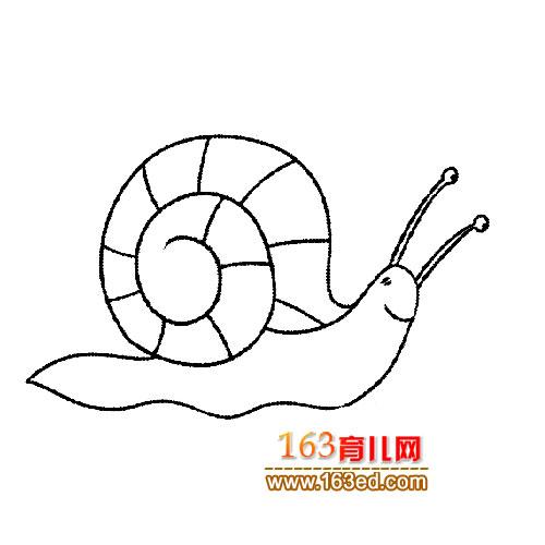 婴儿爬行简笔画_一只爬行的蜗牛简笔画2│昆虫简笔画—简笔画网