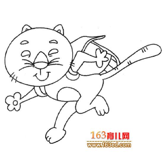 背书包的小猫简笔画