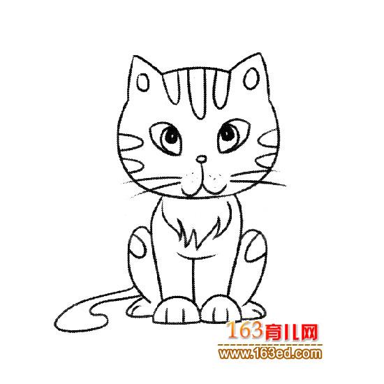 小猫钓鱼卡通简笔画内容图片展示_小猫钓鱼卡通简